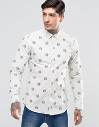 Белая рубашка узкого кроя с повторяющимся принтом Farah - Белый