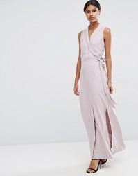 Платье макси из ткани премиум-класса с запахом ASOS - Лиловый
