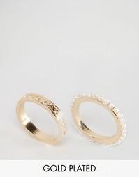 Набор позолоченных колец с жемчугом Nylon - С золотым покрытием