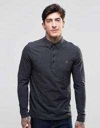 Серая футболка-поло узкого кроя с длинными рукавами Farah - Coal marl