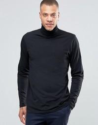 Трикотажная футболка с отворачивающимся воротником !SOLID - Черный