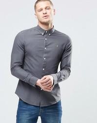 Серая оксфордская рубашка узкого кроя Farah - Однотонная серая