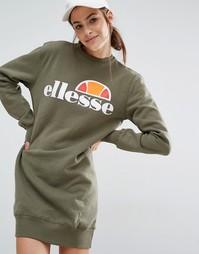 Трикотажное платье с логотипом спереди Ellesse - Пыльный оливковый