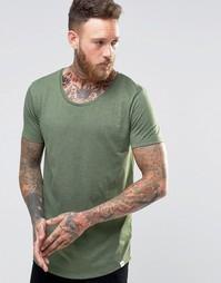 Зеленая меланжевая футболка с формованным низом Lee Hillside
