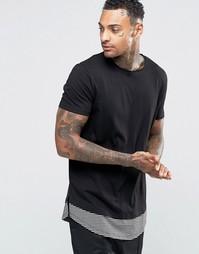 Супердлинная футболка с закругленным полосатым низом ASOS - Черный