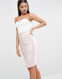 Платье миди с лифом-бандо и вырезами Lipsy - Белый