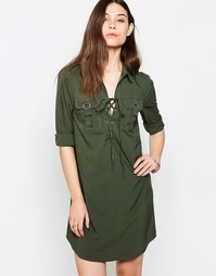 Платье-рубашка со шнуровкой на лифе Madam Rage - Хаки
