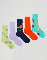 Комплект из 5 пар носков с динозаврами ASOS - Мульти
