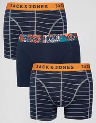 Набор из 3 боксеров-брифов в полоску Jack & Jones - Темно-синий
