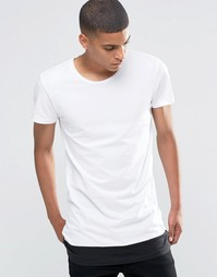Selected Homme Crew Neck T-Shirt with Contrast Drop Hem - Белый