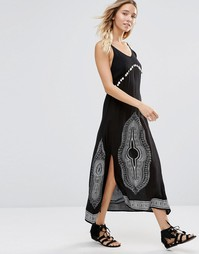 Anmol Maxi Beach Dress with Coin Detailing - Черный