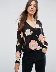 Блузка с запахом и крупным цветочным принтом ASOS - Мульти