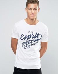 Футболка с круглым вырезом и принтом Esprit - Белый