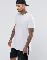 Длинная футболка с разрезами и завязками по бокам ASOS