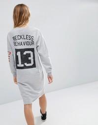 Платье-свитшот в стиле пэчворк ASOS Texas - Серый