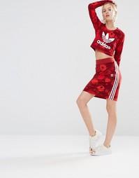 adidas Originals Floral Three Stripe Skirt - Цветной