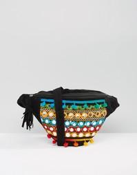Сумка-кошелек на пояс с отделкой и помпонами Boohoo - Черный
