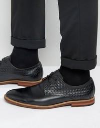 Черные кожаные туфли дерби с плетеными вставками Aldo Sodano - Черный