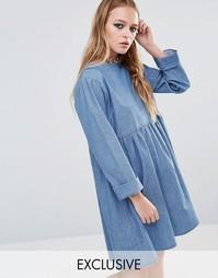 Свободное джинсовое платье Reclaimed Vintage - Синий