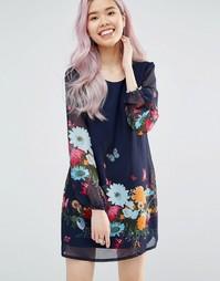 Цельнокройное платье с длинными рукавами и цветочным принтом Yumi