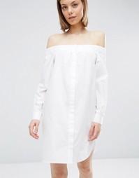 Хлопковое платье-рубашка ASOS - Белый