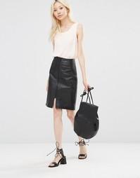 Кожаная юбка-карандаш Y.A.S - Черный