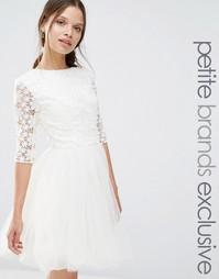 Платье с кружевным топом и рукавами 3/4 Chi Chi London Petite