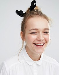 Monki Polka Dot Hair Scrunchie - Черный