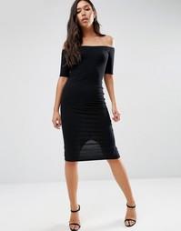 Облегающее платье миди в рубчик с вырезом лодочкой ASOS - Черный