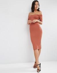 Облегающее платье миди в рубчик с вырезом лодочкой ASOS - Коричневый