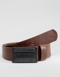 Коричневый кожаный ремень G-Star Daber - Коричневый