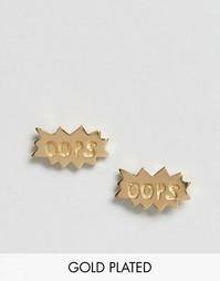 Серебряные позолоченные серьги-гвоздики ASOS - Золотой