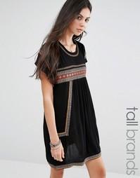 Платье-футболка с вышивкой Glamorous Tall - Черный