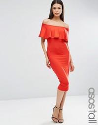 Платье миди с широким вырезом и оборкой ASOS TALL - Красный