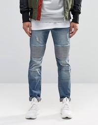 Рваные байкерские джинсы скинни Sixth June - Синий