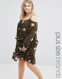 Платье с цветочным принтом и рюшами Alice & You - Хаки