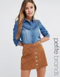 Джинсовая рубашка с оборкой Vero Moda Petite - Med blue denim
