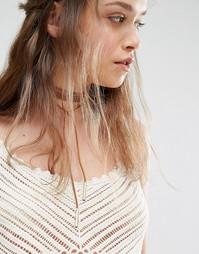 Светло-коричневое ожерелье-чокер в несколько оборотов ALDO - Рыжий