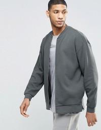 Трикотажная куртка‑пилот в стиле oversize с разрезами на кромке ASOS