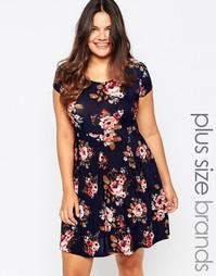 Короткое приталенное платье с цветочным принтом Praslin Plus