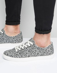ASOS Lace Up Trainers In Printed Knit - Черный