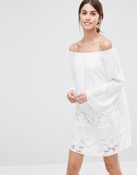 Платье с присборенной юбкой и кружевными вставками BCBG Generation