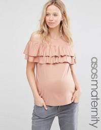 Топ без рукавов с оборками ASOS Maternity - Телесный