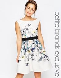 Короткое приталенное платье для выпускного с цветочным принтом Little