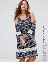 Платье с открытыми плечами и вставками кроше Diya Plus - Синий