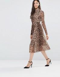 Юбка миди с леопардовым принтом и сетчатой вставкой Soaked in Luxury