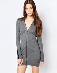 Платье-джемпер с молнией спереди QED London - Серый меланж