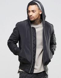 Черная куртка-пилот с капюшоном и карманами ASOS MA1 - Черный