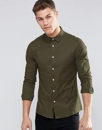 Оксфордская зауженная рубашка с длинными рукавами ASOS - Хаки
