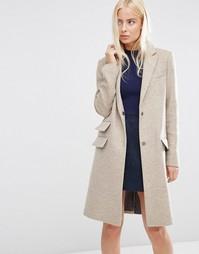Пальто слим с карманом ASOS - Oatmeal